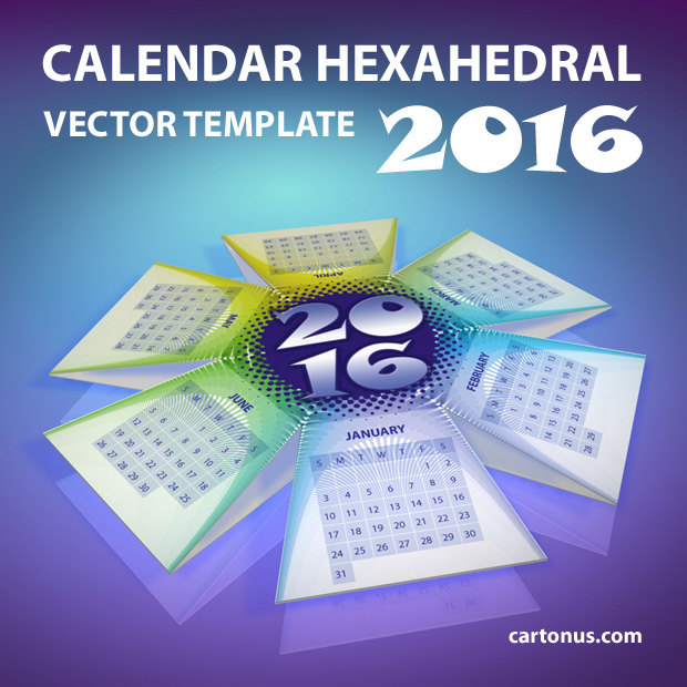 2016 Desktop Pop-up Calendar Hexahedral template
