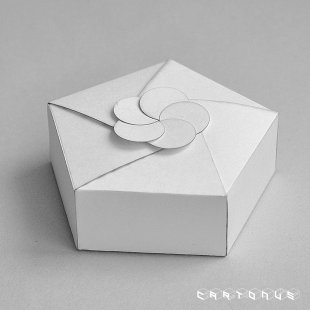 Pentagonal carton with board and gluing 59x35. Photo