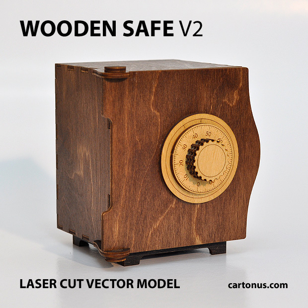 wooden safe v2 vector model project plan ready for laser cutting. Safe 1