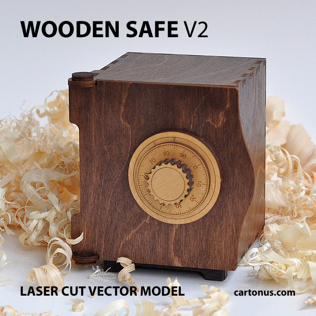 wooden safe v2 vector model project plan ready for laser cutting. Safe 2