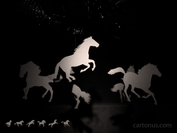 Horses Vector Collection. Print silhouettes of horses on thick paper, cut, tie strings and hang on chandelier.