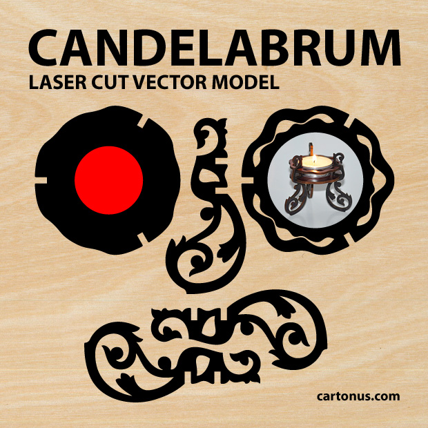 candelabrum project plan for laser cutting for candle 40mm