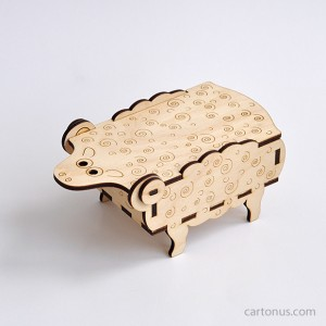 Sheep-box vector model. Ready for laser cut and laser engraving. Create of plywood 3 mm. Front view.