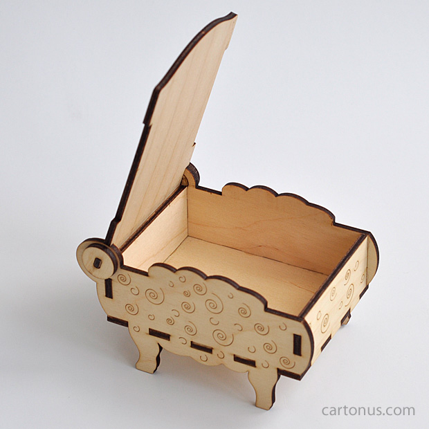 Sheep-box vector model. Ready for laser cut and laser engraving. Create of plywood 3 mm. Opened gift box. Back view