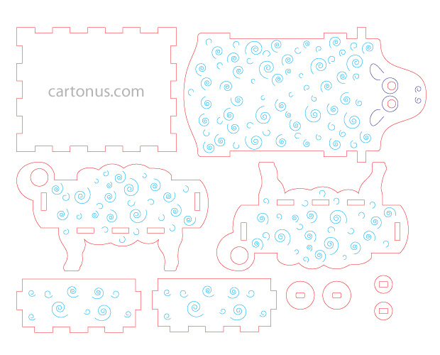 Sheep-box vector model. Ready for laser cut and laser engraving. Create of plywood 3 mm. Ai, eps, pdf screenshot.