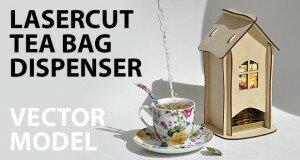 tea bag dispenser, wooden tea box, tea bag storage, tea house box, tea bag holder - vector model, product plan for laser cut of plywood