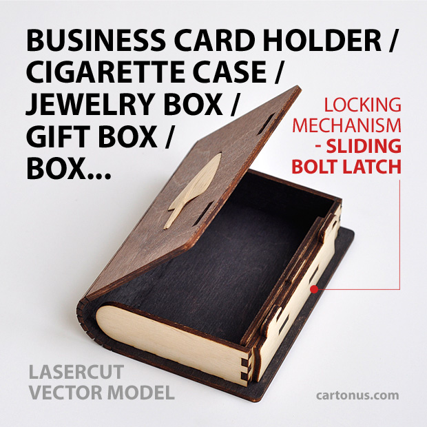 Business card holder, cigarette case, jewelry box, gift box, wooden box with locking mechanism - sliding bolt latch. Lasercut vector model. Ready for laser cut. Open box. Incrustation wood arrow.