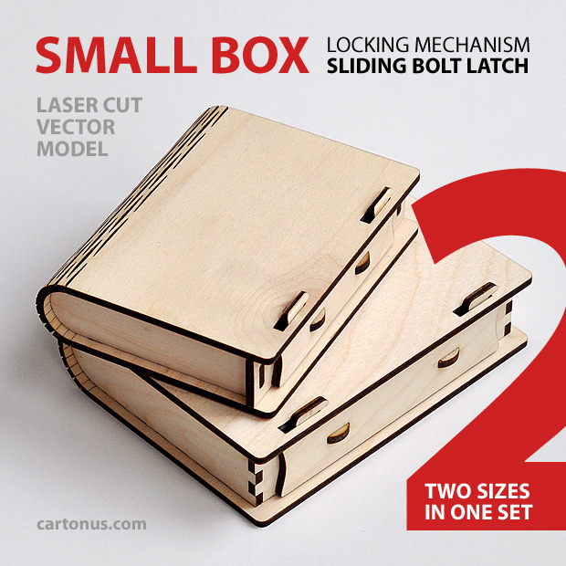 Box with sliding bolt latch cartonus for Laser cut wood box template
