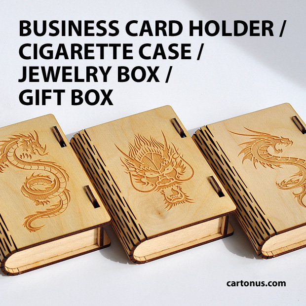 Business card holder, cigarette case, jewelry box, gift box, wooden box with locking mechanism - sliding bolt latch. Lasercut vector model. Ready for laser cut. Dragons