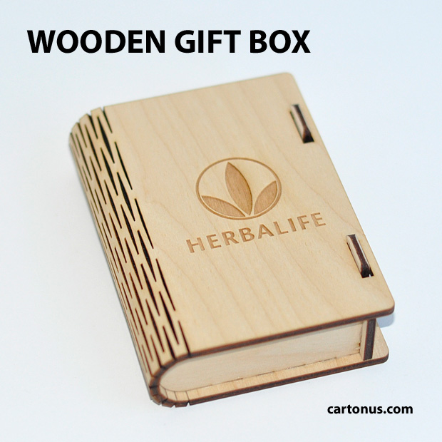Business card holder, cigarette case, jewelry box, gift box, wooden box with locking mechanism - sliding bolt latch. Lasercut vector model. Herbalife gift box with golden sign.