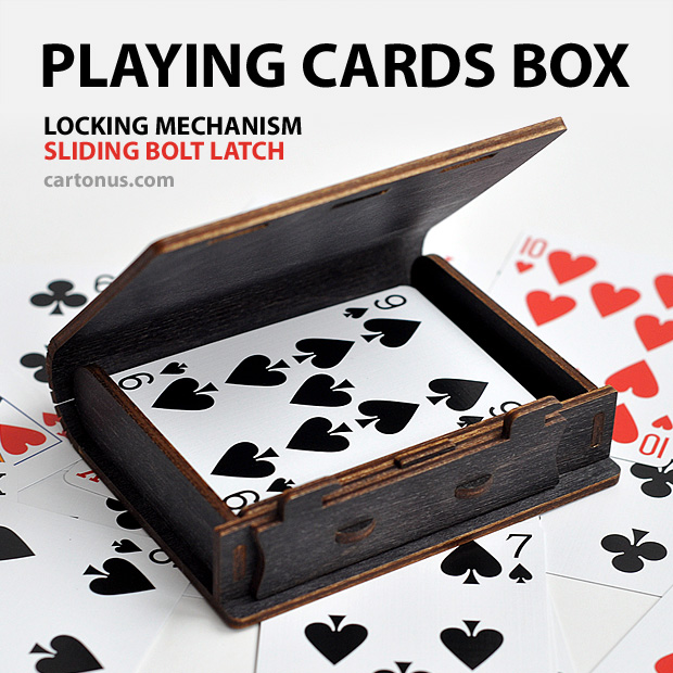 Wooden playing cards box with sliding bolt latch. Laser cut vector model. Project plan for laser cutting