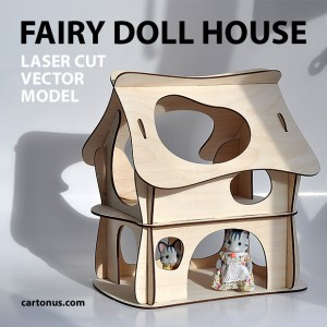 Wooden fairy doll house. Vector plan for laser cutter, cnc, lasercut, laser machine. Wood toy