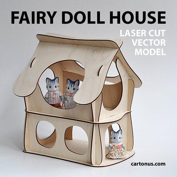 Wooden fairy doll house. Vector plan for laser cutter, cnc, lasercut, laser machine.  Magic dollhouse
