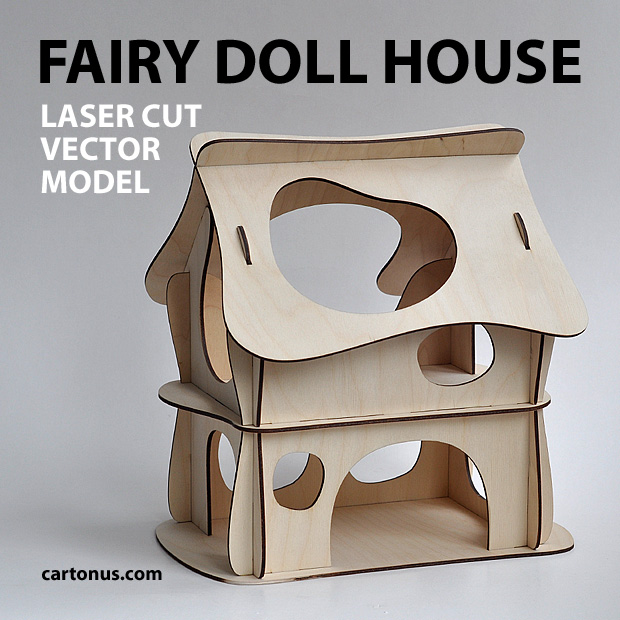 Wooden fairy doll house. Vector plan for laser cutter, cnc, lasercut, laser machine.  Wooden toy