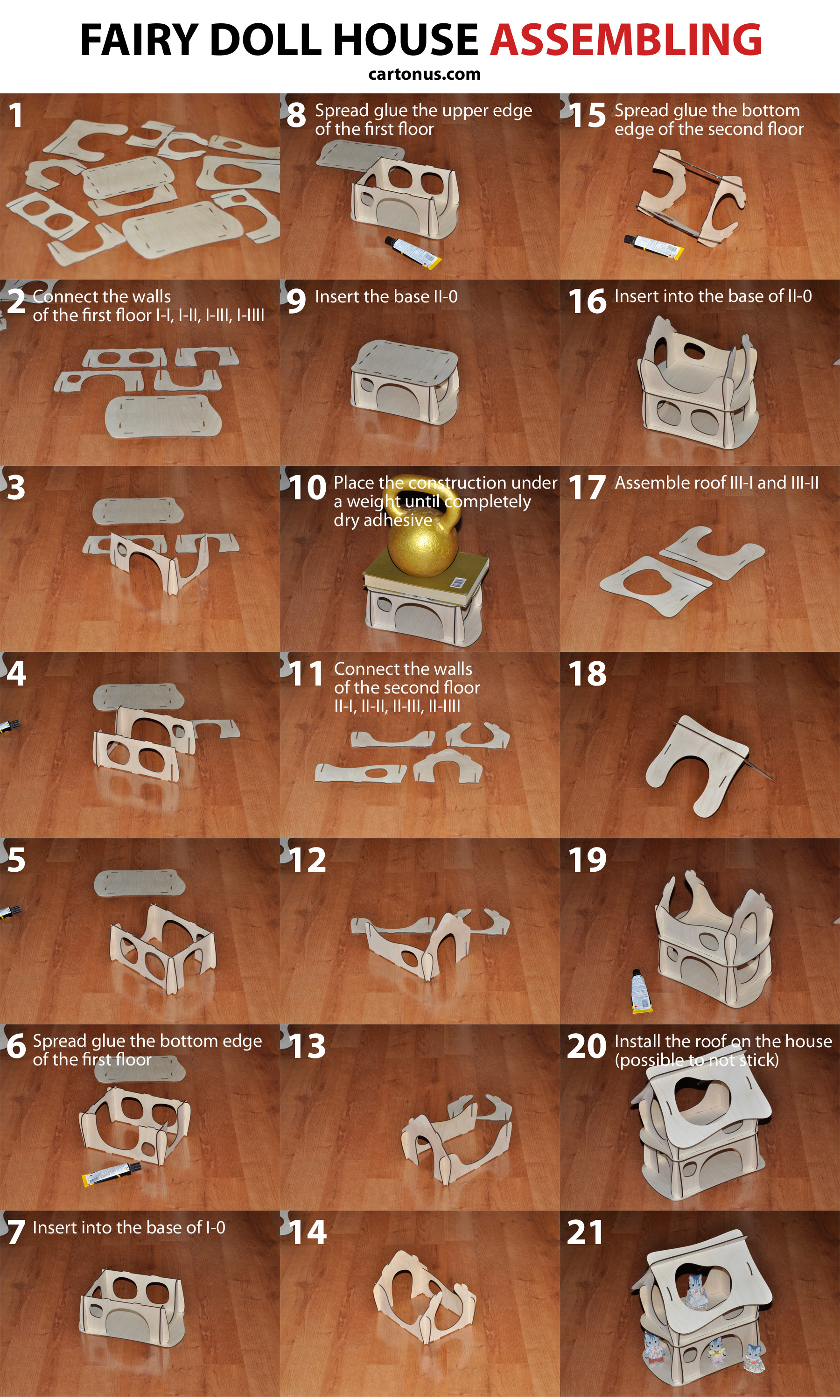 Wooden fairy doll house. Vector plan for laser cutter, cnc, lasercut, laser machine.  Assembling instruction of dollhouse
