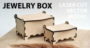 Jewelry box with hinges and clamps. Made of plywood, hardwood. Vector model for laser cutter. The set includes small and medium box.