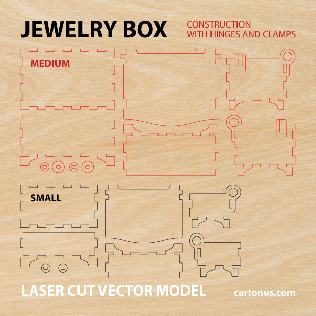 Vector model of jewelry box with hinges and clamps. Made of plywood, hardwood. Vector model for laser cutter. The set includes small and medium box.