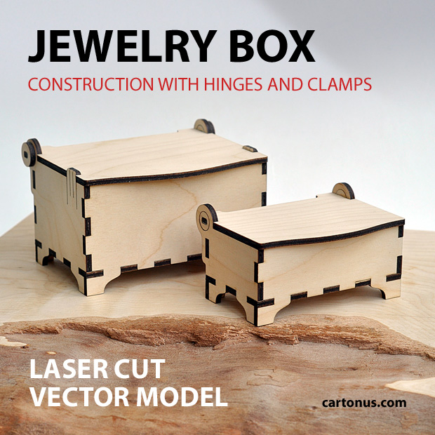 Jewelry box with hinges and clamps. Made of plywood, hardwood. Vector model for laser cutter. The set includes small and medium box. Medium and small boxes