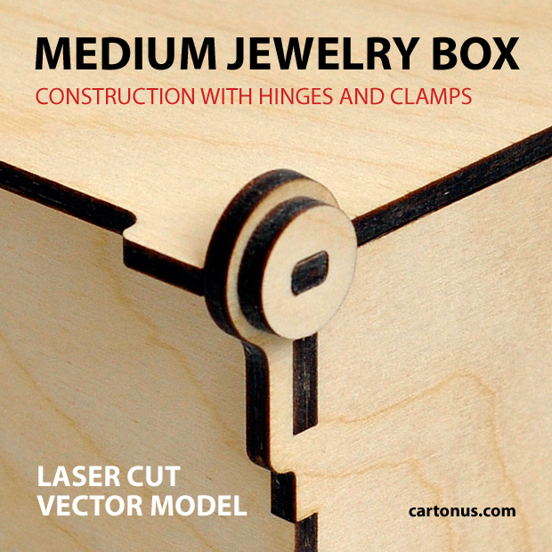 Jewelry box with hinges and clamps. Made of plywood. Vector model for laser cutter. Big photo of hing.