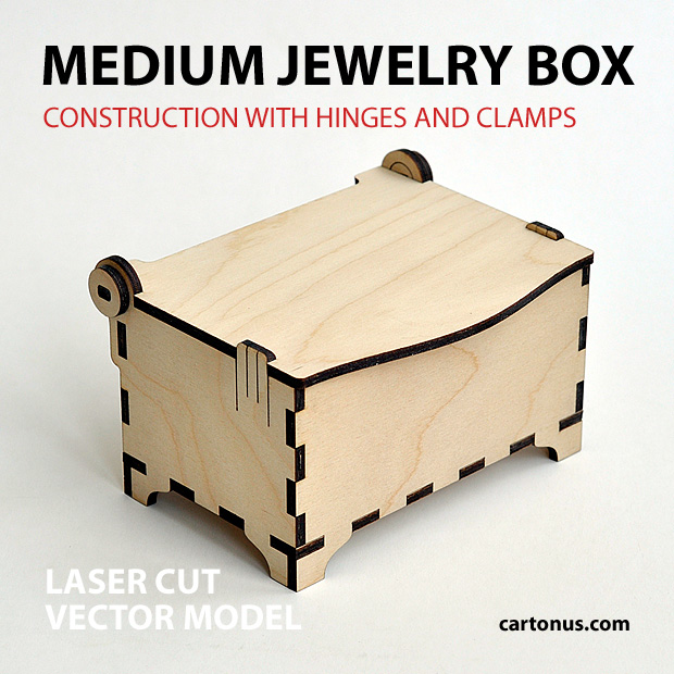 Medium jewelry box with hinges and clamps. Made of plywood. Vector model for laser cutter. Front view.