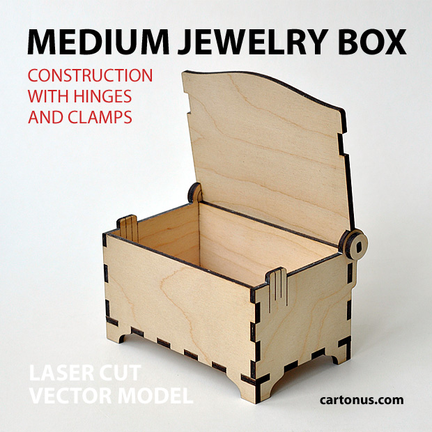 Medium jewelry box with hinges and clamps. Made of plywood. Vector model for laser cutter. Open view.
