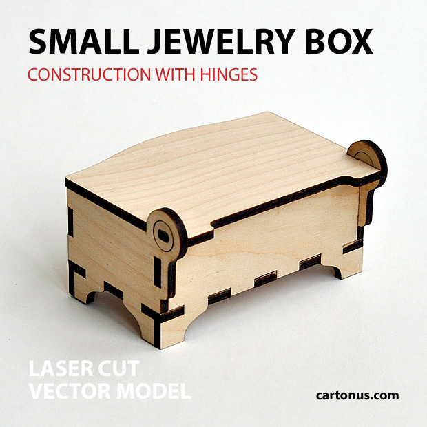 Small wooden jewelry box with hinges and clamps. Made of plywood. Vector model for laser cutter. Back view.