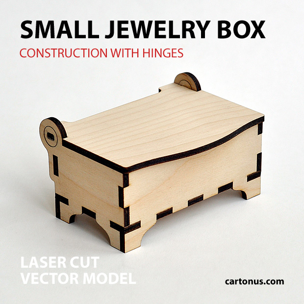 Small wooden jewelry box with hinges and clamps. Made of plywood. Vector model for laser cutter. Front view.
