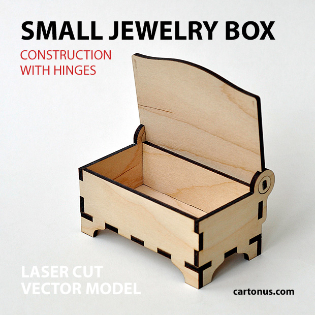 Small wooden jewelry box with hinges and clamps. Made of plywood. Vector model for laser cutter. Open view.