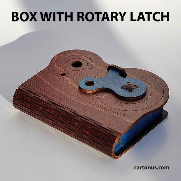 Business card holder, playing cards box, cigarette case, jewelry box, gift box, wooden box with locking mechanism - rotary latch. Lasercut vector model. Ready for laser cutting. Color variant 1