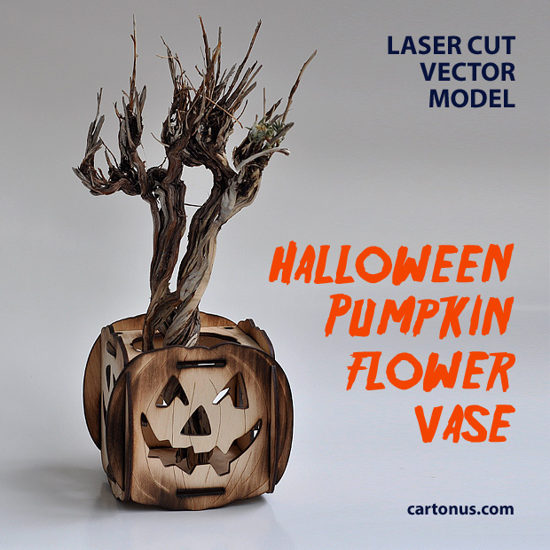 Halloween pumpkin flower vase laser cut vector model
