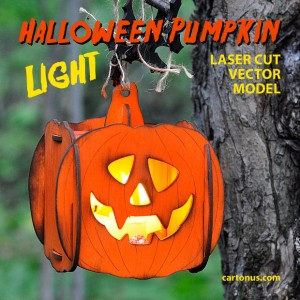 Halloween pumpkin light laser cut vector model. View in the forest