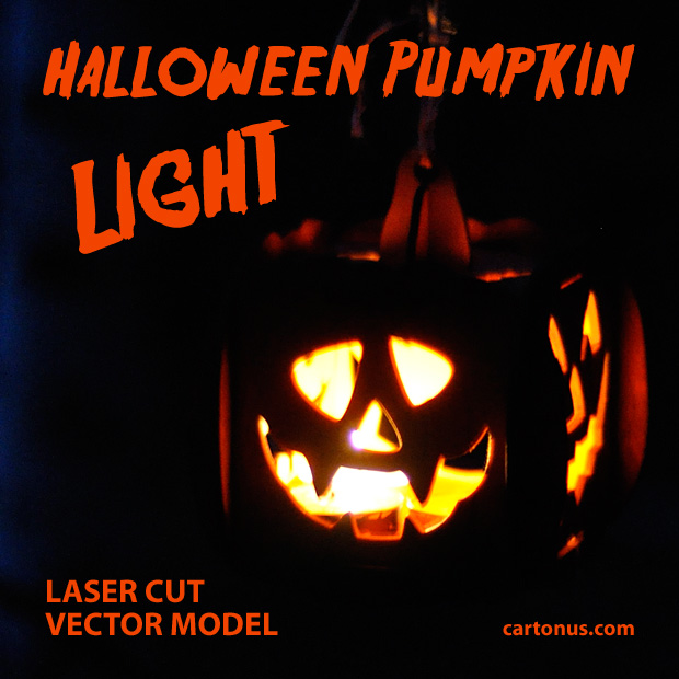 Halloween pumpkin light laser cut vector model. Night view