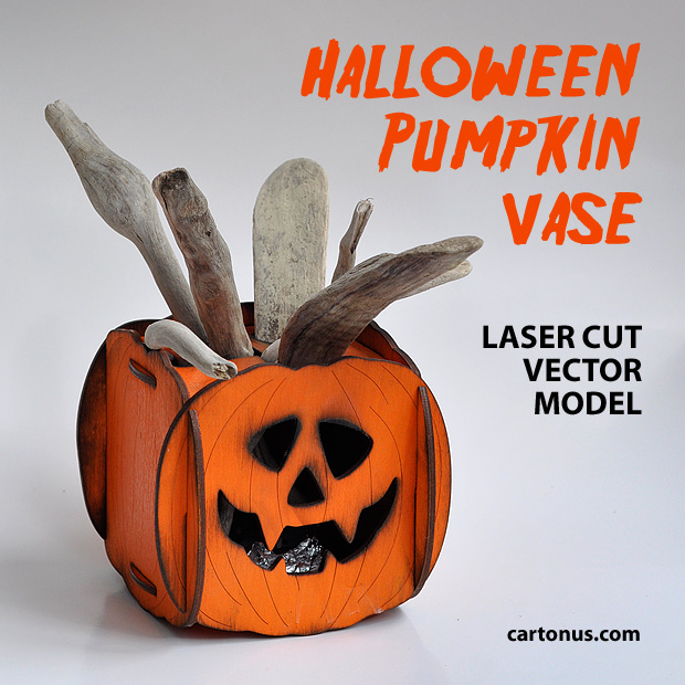 Halloween pumpkin vase laser cut vector model