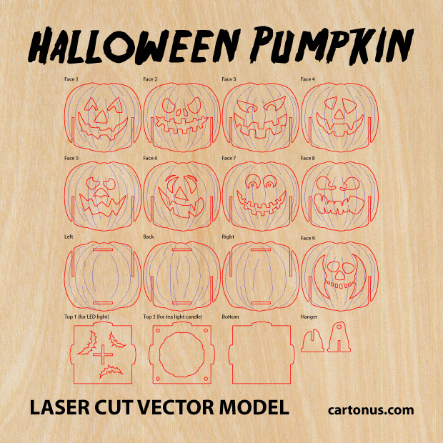 Halloween pumpkin light laser cut vector model. Vector project plan preview