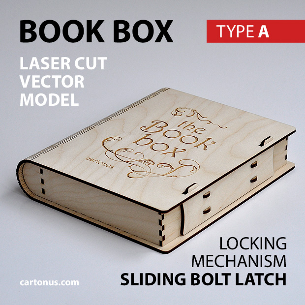 Wooden book box with sliding bolt latch. Laser cut vector model. Project plan for laser cutting. Photo with description