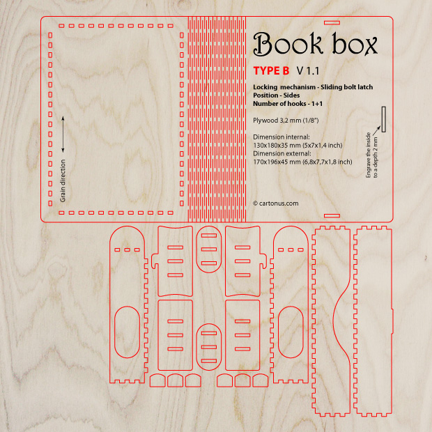 Wooden book box with sliding bolt latch. Laser cut vector model. Project plan for laser cutting.