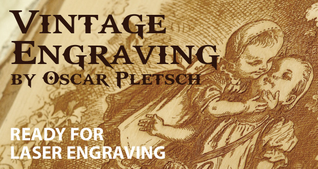 Vintage Engraving by Oscar Pletsch bmp files ready for laser engraving