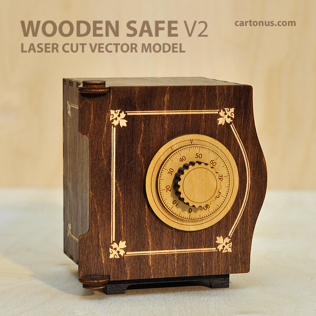 wooden safe v2 vector model project plan ready for laser cutting