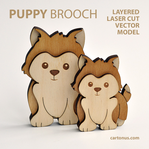 Puppy-dog brooch. Three-layers vector model for laser cutting. 2 dogs