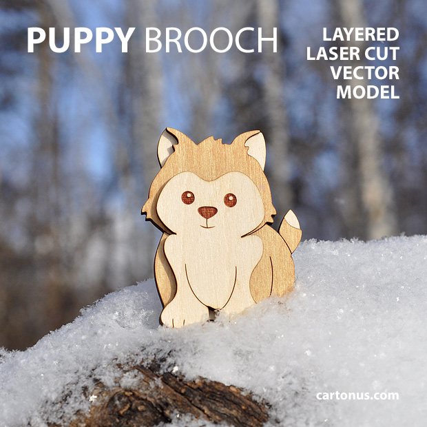 Puppy-dog brooch. Three-layers vector model for laser cutting