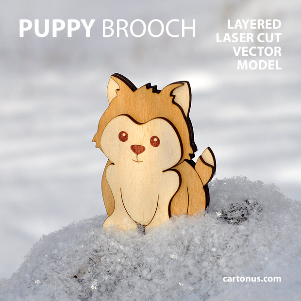 Puppy-dog brooch. Three-layers vector model for laser cutting. Puppy in snow