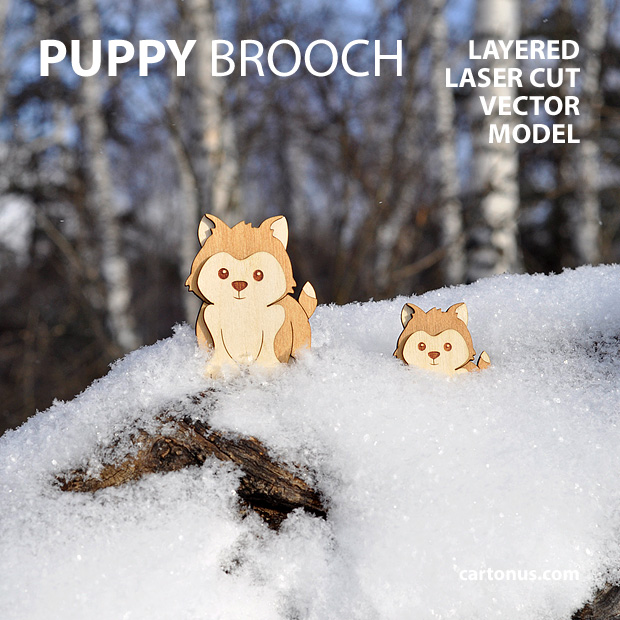 Puppy-dog brooch. Three-layers vector model for laser cutting. Dogs in snow
