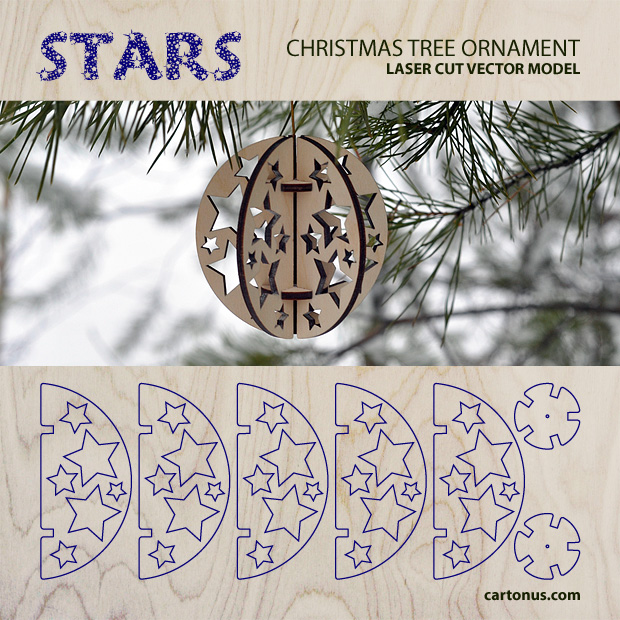 Download FREE Christmas tree ornament - Stars. Free vector model for laser cutting