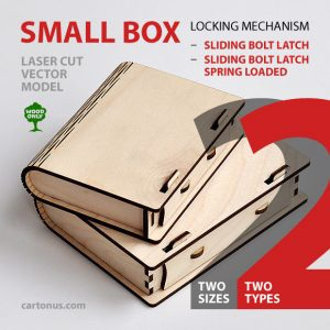 Wooden small box with sliding bolt latch and spring loaded model. Laser cut vector model. Project plan for laser cutting