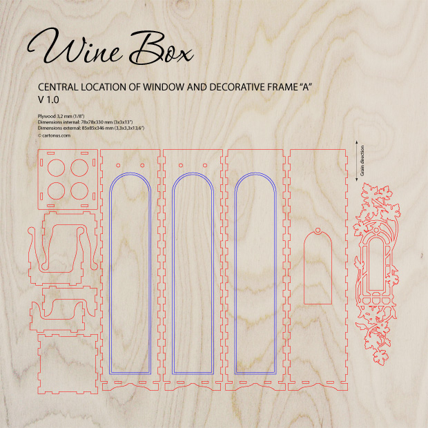 Wooden wine box with window and decorative frame. Project plan preview