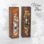 Wooden wine box with window and decorative frame. Descriptions