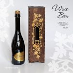 Wooden wine box with window and decorative frame. Central location