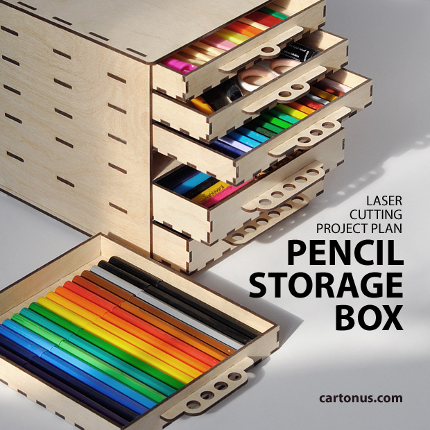 Pencil storage box six drawer project pan vector model