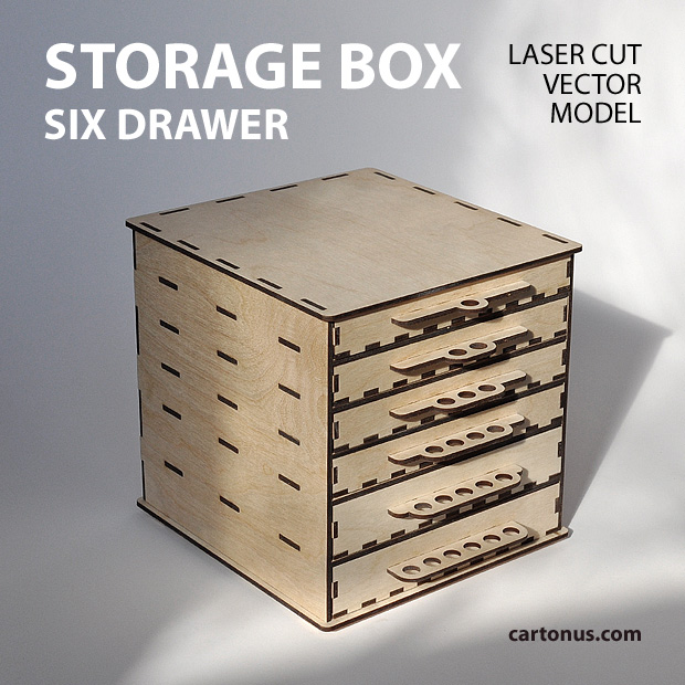 Wooden toolbox with six drawers project plan ready for laser cutting