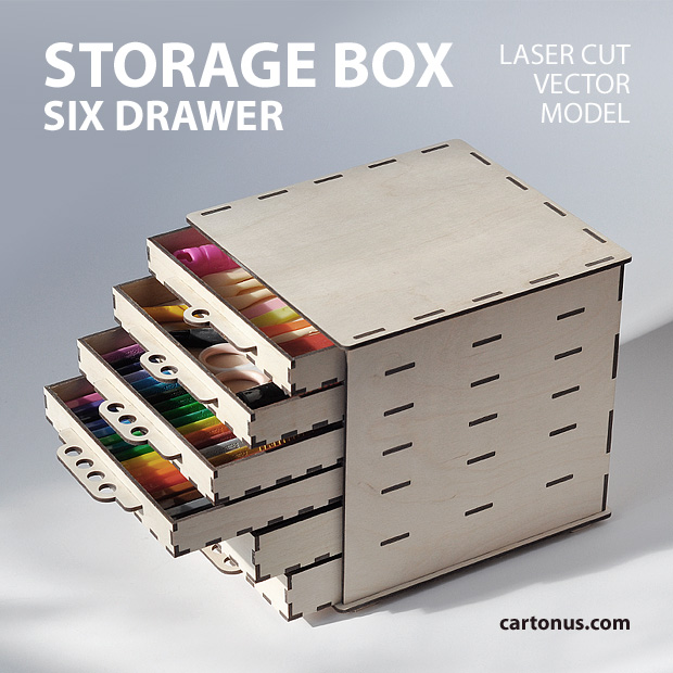 Storage box six drawer project plan, vector model ready for laser cut